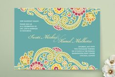 """Modern Maharani"" - Floral & Botanical, Modern Wedding Invitations in Turquoise by Kelly Maron Horvath."
