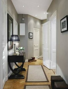 LOVING this color. Benjamin Moore Coventry Gray by idlework. Lighter floor and grey walls Deco Design, Design Case, Hall Design, Entrance Design, Coventry Gray, Flur Design, Hallway Designs, Hallway Ideas, Staircase Ideas