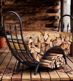 Plow & Hearth Curved Wood Rack with Decorative Finials - Powder Coated Tubular Steel and Wrought Iron with Stainless Steel Hardware - Black Finish - x x Metal Projects, Welding Projects, Welding Ideas, Welding Art, Welding Tools, Diy Projects, Metal Welding, Woodworking Projects, Firewood Holder