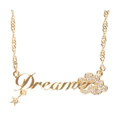Disney Couture Dreamer Necklace (76 BAM) ❤ liked on Polyvore featuring jewelry, necklaces, accessories, colares, gold, women, women's accessories, thin chain necklace, chain pendant necklace and short gold necklace