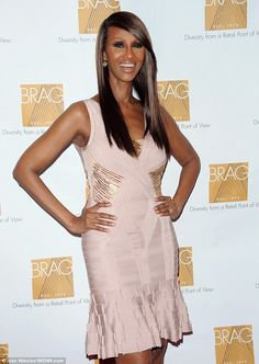 Flawless at 58! Somali supermodel Iman wore a pink bandage dress to accept a BRAG Legacy Award in Manhattan Thursday