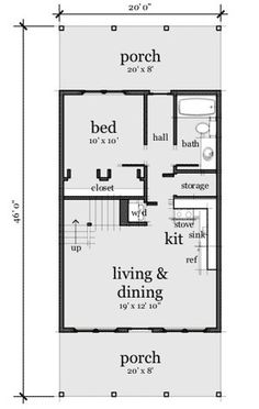 Cute, fits our needs, maybe add a half bath in loft and elimjnate hall for larger room. Good idea per previous pinner. 20x30 House Plans, Cabin House Plans, Cabin Floor Plans, Small House Floor Plans, Cottage Plan, Tiny House Living, Cabin Homes, Shed Plans, Home Design
