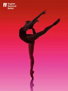English National Ballet poster Love the ombre pink and red colour. Ballet dancer, arabesque & pointe shoes.