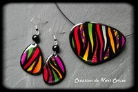 Encore de la couleur! Earrings and pendant by Création de Vert Cerise, polymer clay.