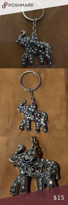 Handmade Wooden Heart Keyring Keychain Cute Yellow /& Grey Elephants Print