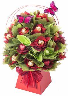 red geranium chocolate bouquet I www.thechocolateflorist.co.uk I ferrero rocher chocolate bouquet