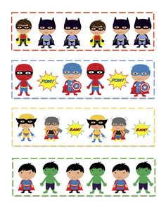 Superhero activities FREE Preschool Printables: Super Hero cards for patterning and games.
