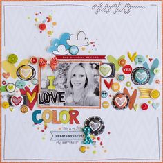#papercraft #scrapbook #layout I Love Color | Diane Payne