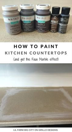 How To Paint Kitchen Countertops (and get the faux marble effect!) How To Paint Kitchen Countertops (and get the faux marble effect! Painting Kitchen Countertops, Outdoor Kitchen Countertops, Kitchen Countertop Materials, Diy Countertops, Kitchen Paint, Kitchen Cabinets, Faux Marble Countertop, Spray Paint Countertops, Rustoleum Countertop