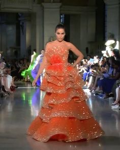 """Kadi Look Fall Winter 2020 Couture Collection Embellished Orange Layered Strapless A-Lane Evening Maxi Dress / Evening Gown. """"Temple of Flora"""" Fall Winter 2020 Couture Collection. Runway Show by Rami Kadi Style Couture, Haute Couture Dresses, Haute Couture Fashion, Evening Gowns Couture, Party Wear Dresses, Bridal Dresses, Victor Ramos, Stylish Dresses, Fashion Dresses"""