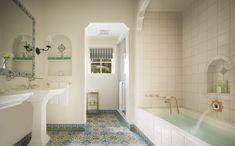 Spanish Style Bathrooms, Spanish Bathroom, Spanish Bungalow, Spanish Colonial, Biltmore Santa Barbara, Santa Barbara Hotels, Santa Barbara Four Seasons, Big Bathtub, Houses