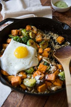 Sweet Potato Mushroom Brussels Sprout Hash with Quinoa • theVintageMixer.com #breakfastfordinner