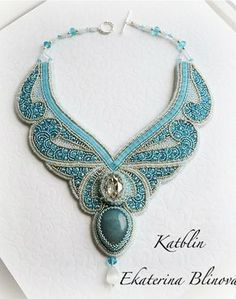 Beautiful embroidered jewelry by Kate Blinova – embroidery – Jewelry Bead Embroidery Jewelry, Soutache Jewelry, Seed Bead Jewelry, Bead Jewellery, Beaded Embroidery, Beaded Jewelry, Handmade Jewelry, Beaded Necklace, Necklaces