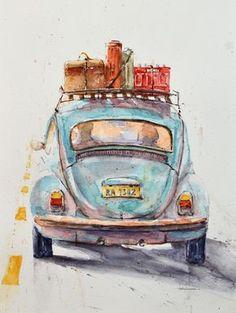 #fusca #beetle #volkswagen #aquarela #Pintura #carro