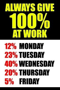 always give 100% at work- only spread this over 7 days everyother week for me :-p
