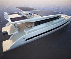 Silent 79 Solar Yacht Catamaran Design, Power Catamaran, Yacht Design, Boat Design, Yacht Boat, Pontoon Boat, Floating Architecture, Sailboat Interior, Small Yachts