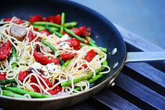Leftover Spaghetti with sausage, asparagus, and garlic-roasted tomatoes @sternmanrule