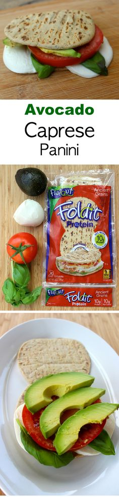 Avocado Caprese Panini: super simple, delicious and high in protein with the new Foldit Protein flatbread.