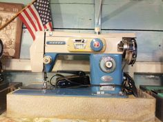 Vintage Sewing Machine  Morse Brand: Red White and Blue