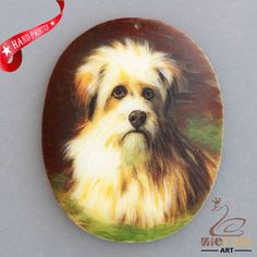 Hand Painted Dog Natural White Stone Rock Necklace Pendant Bead  L1705 0223 #ZL #Pendant