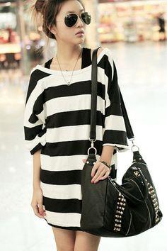 Lady Fashion White & Black Strip Blouse Shirt Top