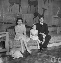 Shah and Queen Fawzia of Iran with Daughter_ HIH Princess Shahnaz. - 980x1024px
