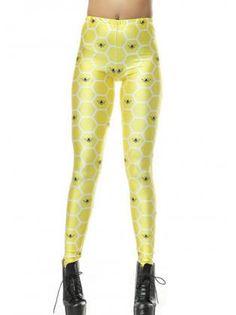 Adorable Bee Print Honeycomb Pattern Yellow Skinny Leggings