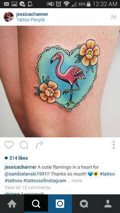 Pink flamingo tattoo