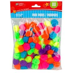 Crafter's Square Multicolored Craft Pom-Poms, 80-ct. Pack