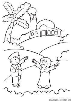 Happy Muslimah Coloring Gambar Mewarnai 2018 Pinterest Ramadan