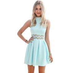 2016 new fashion sleeveless slim waist Hollow flower short pleated dress robe vestidos women casual sexy summer dresses