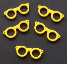 Glasses / Spectacles Resin Beads / Pendants 5 x by beadingshaz, £1.45