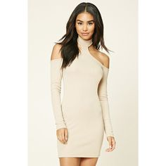 Forever 21 Women's  High-Neck Bodycon Dress ($18) ❤ liked on Polyvore featuring dresses, high neckline dress, bodycon dress, forever 21 dresses, high neck dress and knit dress