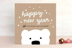Polar Bear Wishes Holiday Cards by Carolyn MacLare. Xmas Cards, Diy Cards, Holiday Cards, Papyrus Cards, Tarjetas Diy, Diy And Crafts, Paper Crafts, Fabric Paper, Nouvel An