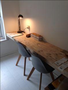Werkblad Maxime, materiaal steigerhout, in verstek afgewerkt. Ontwerp en realisatie www.meubelenmaatwerk.nl/www.steigerhoutenzo.nl
