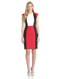 IT'S INTERACTIVE OMG!   Calvin Klein Women's Ponte Colorblock Dress, Cream/Cherry/Black, 14 Calvin Klein http://www.amazon.com/dp/B00FNLJPA2/ref=cm_sw_r_pi_dp_qyqjub1Q1J77T