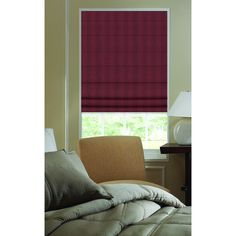 Roman Shades Ashton Stripe Wine Plain Fold Shade (26W x 60H Wine), Red (Polyester)
