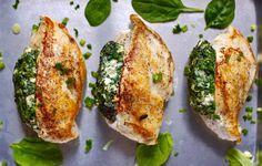 Spinach Stuffed Chicken Breasts  http://www.prevention.com/food/5-simple-stuffed-chicken-breast-recipes/slide/4