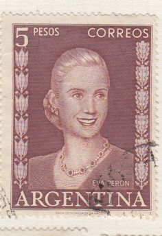 Blogart: Argentina-5 Postage Stamps With Portraits of Eva Peron-Illustrated