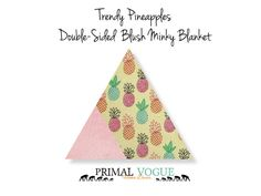 Pineapple Blush Double-Sided Cuddle Minky Blanket by Primal Vogue™ - 36x36 40x60 - Mint, Turquoise, Magenta, Peach, Yellow - Very Soft Minky