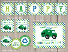 Garage Truck Party Package / Garbage by LittleApplesDesign on Etsy, $12.00