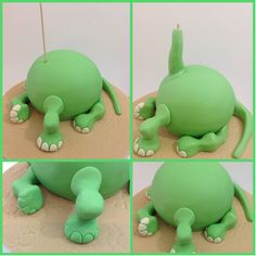 So Arlo's head is secure, push a skewer into the sponge cake and hide it with green fondant