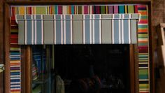 Striped roller blind in teal, pale aqua, dark grey and white with open cassette pelmet Roman Blinds, Curtains With Blinds, Striped Roller Blinds, Grey And White, Dark Grey, Beautiful Blinds, Aqua, Teal, Pelmets