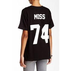 ELEVENPARIS Moss 74 Back Number Tee ($20) ❤ liked on Polyvore featuring tops, t-shirts, short sleeve tops, short sleeve t shirts, black short sleeve t shirt, crewneck tee ve short sleeve crew neck t-shirt