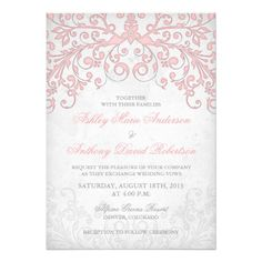 Pretty and elegant vintage style blush pink and grey (gray) floral alter or arbor wedding invitation. The colors in the invitation are shades of grey paired with blush pink (blossom pink) on a vintage parchment style paper background (simulated by the graphic). The floral design is cascading from the top of the invitation.  You can personalize all the text on this wedding invitation.  To change the text, use the personalize options. Or to change the font, font size, font color, or text…