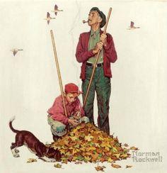 Grandpa & Me Raking Leaves, art by Norman Rockwell.