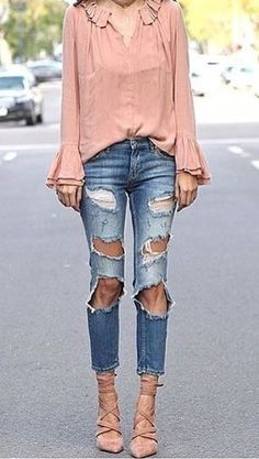 #winter #outfits /  Pink Blouse // Destroyed Jeans // Laced Up Pumps