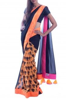 Black & Orange neon Saree