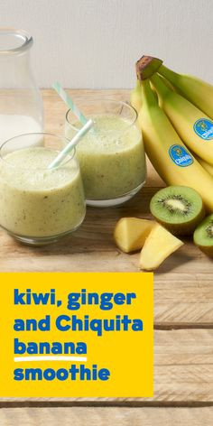 Start your day with a tropical twist with this dairy free kiwi, ginger and Chiquita banana smoothie.