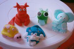 Fondant Animals: dragon, snail, elephant, cat, turtle by MyCakeHole